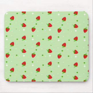 Strawberries Pattern with Green Background Mouse Pad