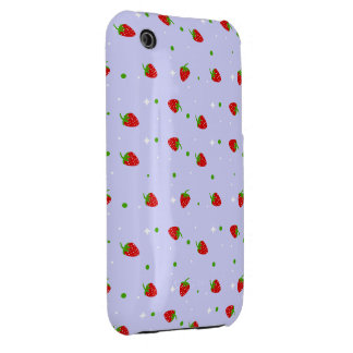 Strawberries Pattern with lilac Background Case-Mate iPhone 3 Cases
