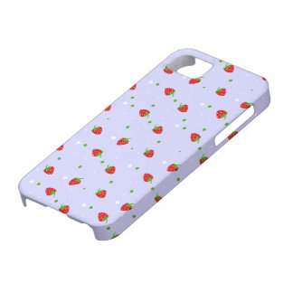 Strawberries Pattern with purple Background iPhone 5 Case