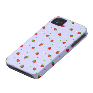 Strawberries Pattern with purple Background Case-Mate iPhone 4 Cases