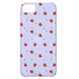 Strawberries Pattern with purple Background Case For iPhone 5C