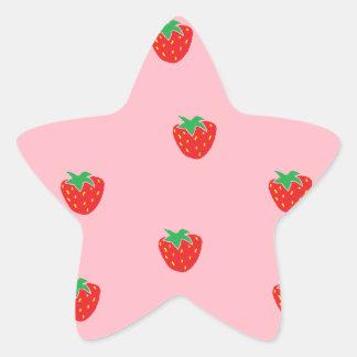 Strawberries Pink Star Sticker