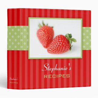 Strawberries Polka Dot Stripe Recipe Binder