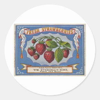 Strawberries Round Stickers