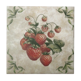 Strawberries Rustic Ceramic Tile