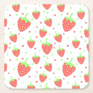 Strawberries Square Paper Coaster