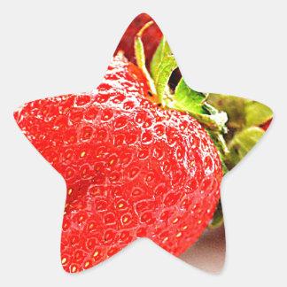 strawberries star sticker
