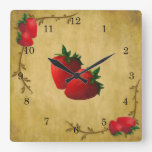Strawberries Wall Clock Square Wall Clocks