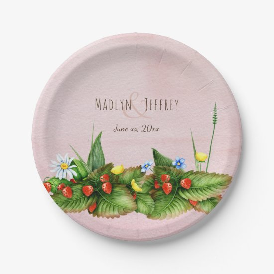 Strawberries wildflowers meadow country wedding paper plate