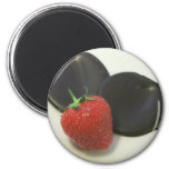 Strawberries with dark Valrhona chocolate Refrigerator Magnets