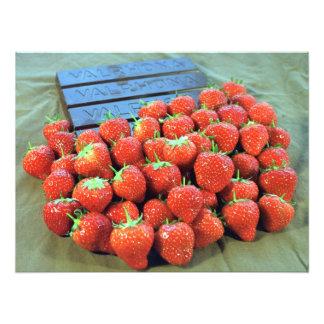 Strawberries with dark Valrhona chocolate Photographic Print