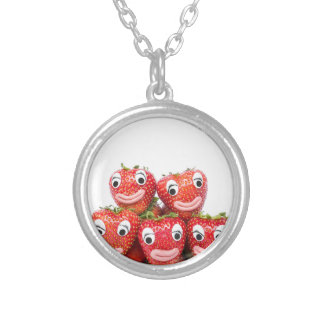 Strawberries with eyes and mouth silver plated necklace