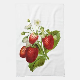 Strawberries with Green Leaves Kitchen Hand Towel