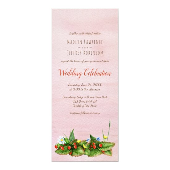 Strawberries with meadow flowers blush wedding invitation