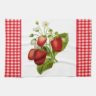 Strawberries with Red Gingham Kitchen Hand Towel