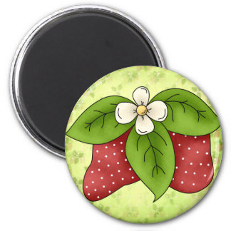 Strawberries with White Blossom Magnet