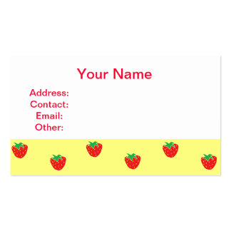Strawberries Yellow Business Card