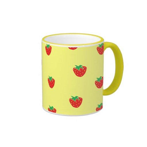 Strawberries Yellow Ringer Mug