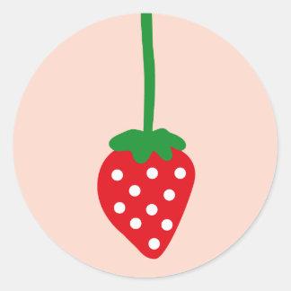 strawberry2 pegatina redonda