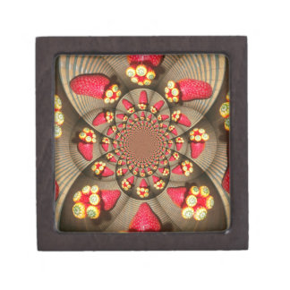 """STRAWBERRY 2"""" Square Gift VINTAGE RED AND YELLOW Premium Gift Box"""