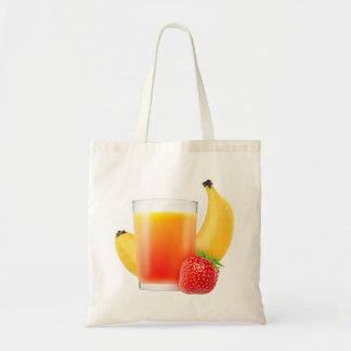 Strawberry and banana smoothie tote bag