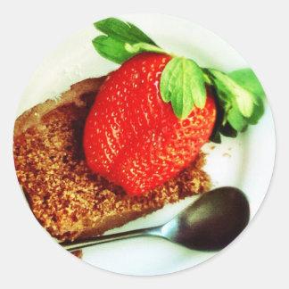 Strawberry and Cake Classic Round Sticker