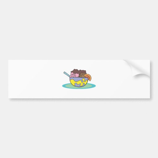 strawberry and chocolate ice cream in a bowl bumper stickers
