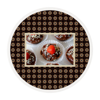 Strawberry and Dark Chocolate Mousse Dessert Edible Frosting Rounds