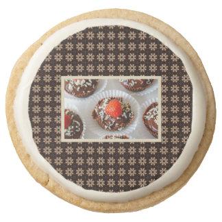 Strawberry and Dark Chocolate Mousse Dessert Round Shortbread Cookie