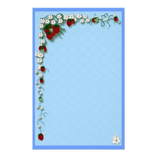 Strawberry and Flowers Stationery