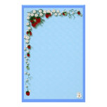 Strawberry and Flowers Stationery Paper