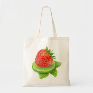Strawberry and slice of lime tote bag