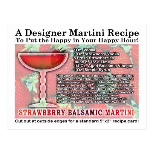 Strawberry Balsamic Martini Recipe Postcard Zazzle