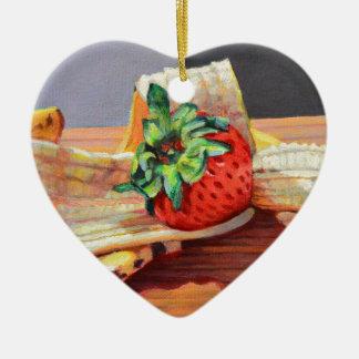Strawberry Banana Split Ceramic Ornament