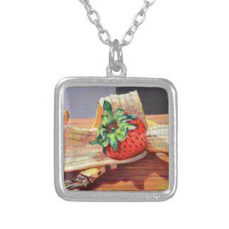Strawberry Banana Split Silver Plated Necklace