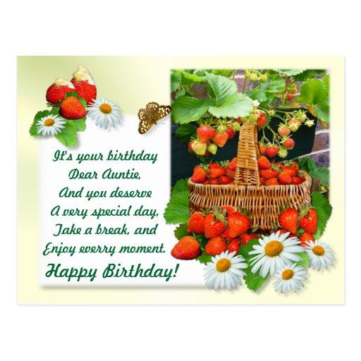 Strawberry Basket ~ Auntie's  Birthday Postcard