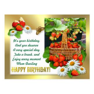 Strawberry Basket ~ Birthday Postcard