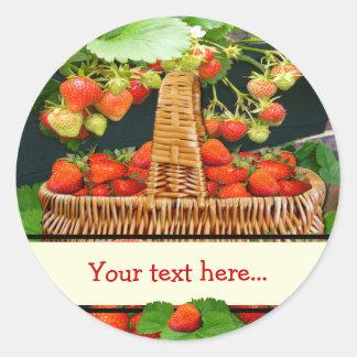 Strawberry Basket  ~ Your Text Round Sticke Classic Round Sticker