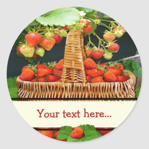 Strawberry Basket  ~ Your Text Round Sticke Stickers