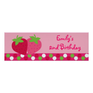 Strawberry Birthday Banner Poster