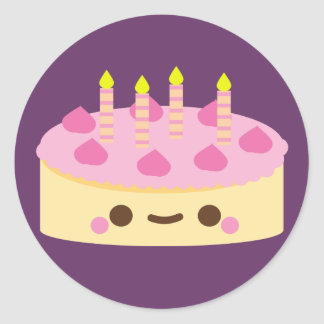 Kawaii Birthday Cake Stickers Zazzle