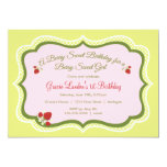 "Strawberry |  Birthday Invitation 5"" X 7"" Invitation Card"