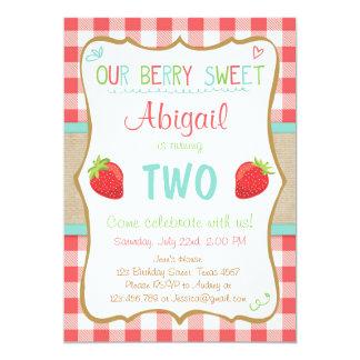 Strawberry Birthday Invitation Summer Party Girl