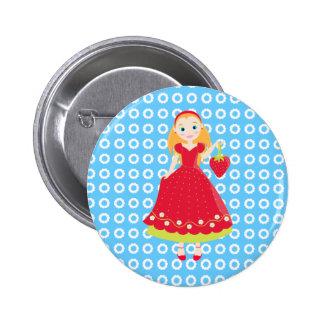Strawberry Birthday Party Girl 2 Inch Round Button