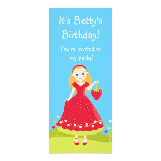 Strawberry Birthday Party Girl Card