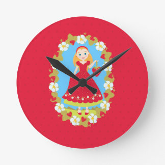 Strawberry Birthday Party Girl Round Clock
