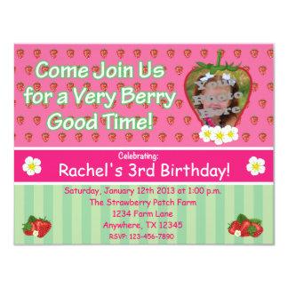 "Strawberry Birthday Party Invitation 4.25"" X 5.5"" Invitation Card"