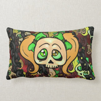 Strawberry Blonde Skulls and Chains Lumbar Pillow