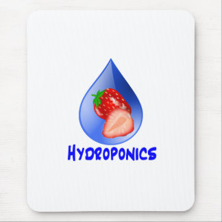 Strawberry, Blue Text Blue Drop Hydroponics Mouse Pad