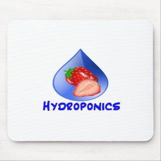 Strawberry, Blue Text Blue Drop Hydroponics Mousepad